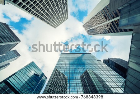 Modern Hong Kong office skyscraper building from below in Hong Kong. Asia. #768848398