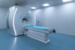 modern hospital Computed Tomography room interior with device.