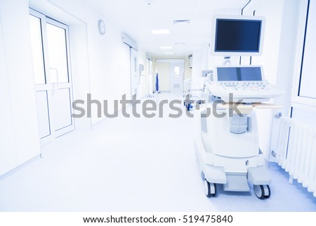 modern hospital corridor with the ultrasound machine