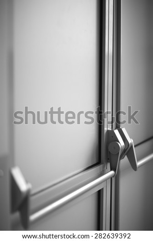 Modern hospital door with a handle