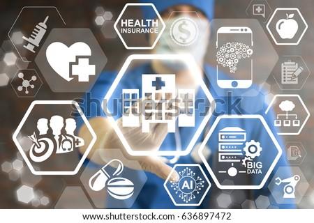 Modern Hospital - Innovation Futuristic Clinic, Information Technology Integration Concept.  Smart Health Care integrate IoT, AI, big data, cloud, Robotic. Intellectual computing medical help. ストックフォト ©