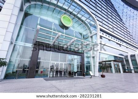 modern hotel building entrance