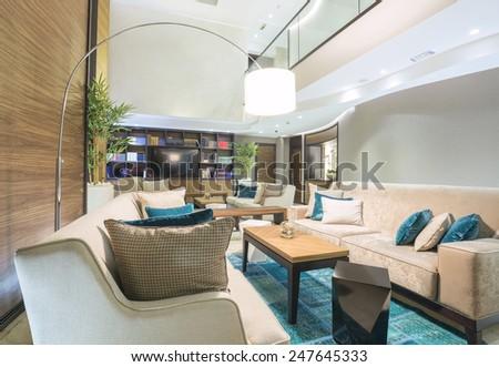 Modern hotel lobby cafe interior