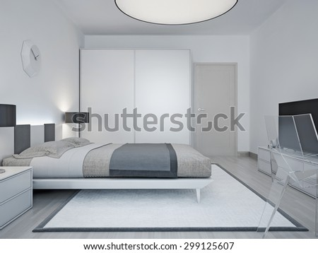 Modern hotel room design. Room with luxury bed, black lamp, wardrobe with sliding door, and a large round lamp on the ceiling. 3D render