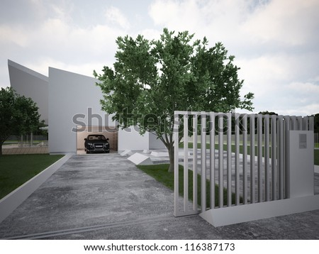 Modern house design contemporary architecture hi tech for House gate design architecture
