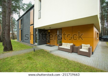 Modern house entrance from the outside, horizontal