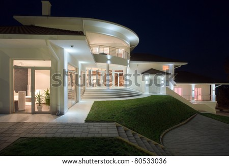 Modern house exterior, large and expensive house architecture.