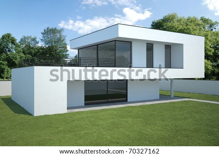 modern house - exterior with lawn