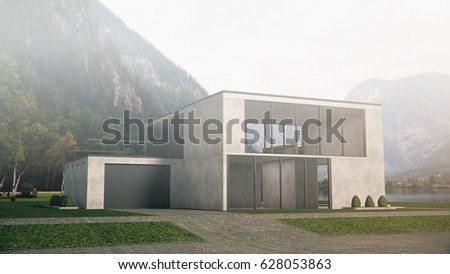 Modern House in Mountains Landscape in Minimalistic Desing. 3D Rendering