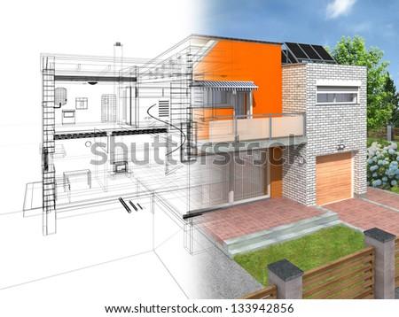 Modern house in the section with visible infrastructure and interior. Outline sketch and rendering.