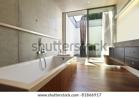 modern house interior, bathroom view