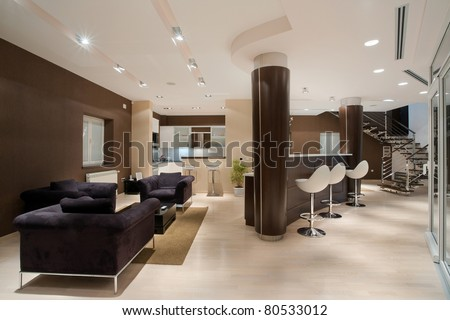 Modern house interior, large and expansive house architecture.