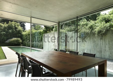 modern house interior, wooden dining table