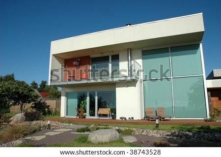 modern house middle of garden