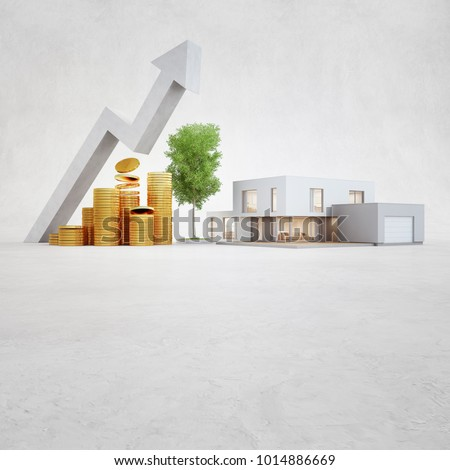 Modern house on concrete floor with white copy space background in real estate sale or property investment concept, Buying new home for big family - 3d illustration of residential building exterior