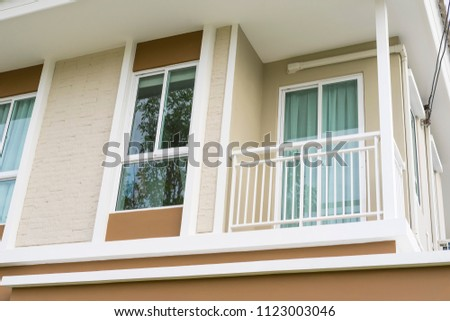 Modern house with balcony terrace, roof gutter system #1123003046