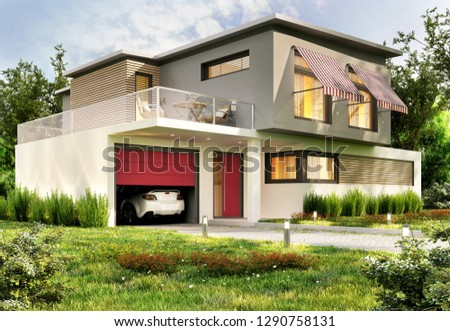 Modern house with garage and car. 3D rendering.