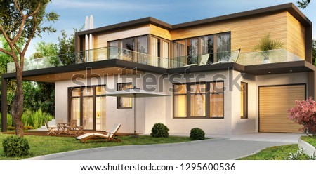 Modern house with garage and terrace. 3D rendering