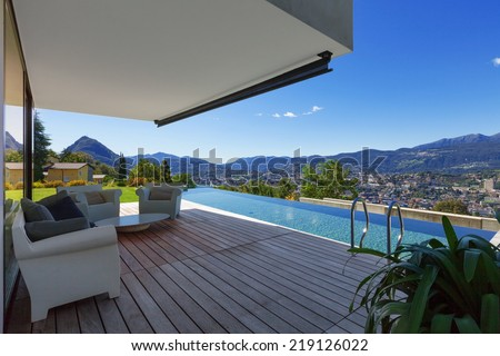 Modern house with infinity pool in exterior