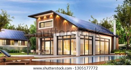 Modern house with solar panels on the roof. 3D rendering