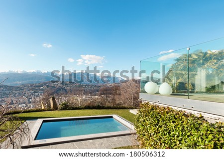 Modern house with swimming pool, view outdoor