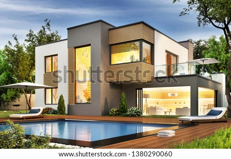 Modern house with terrace and a swimming pool. 3D rendering