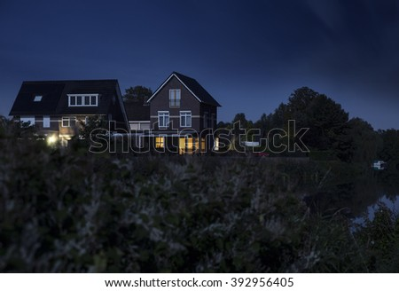 Modern houses at night in the Netherlands, Ulft