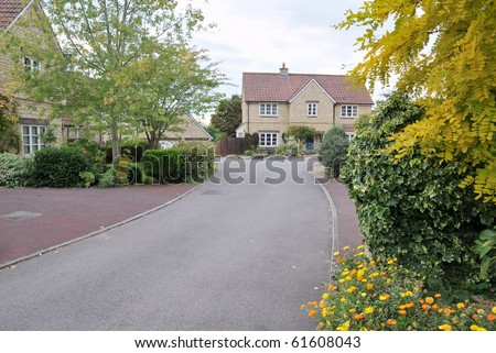 Modern Housing Estate Driveway in Autumn
