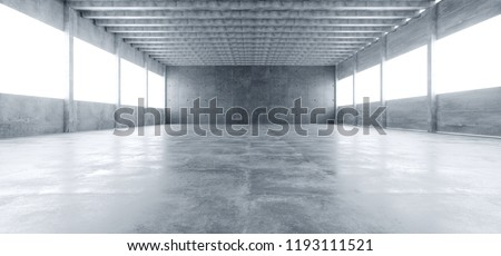 Modern Huge Concrete Material Empty Hall With Many Columns And Big White Glowing Windows Wallpaper Space For Text 3D Rendering Illustration