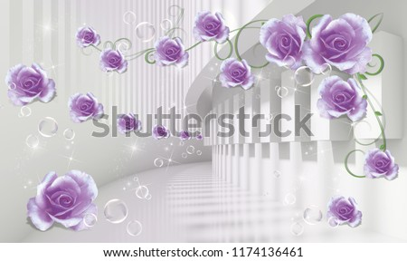 Modern ideas in the design of any interior. Photo wallpapers 3d model lilac roses in architectural tunnel. Beautiful flower wallpaper. Flowers in the Tunnel is an original decoration in interiors.