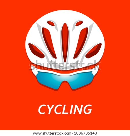 Modern Illustration of cyclist helmet with glasses from front view. Realistic bicyclist head with colorful sunglasses isolated on pink background.  Design element for icon, logo or sticker.