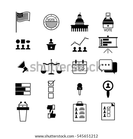Modern illustration of election and voting line icons set, politics, voting and elections symbols