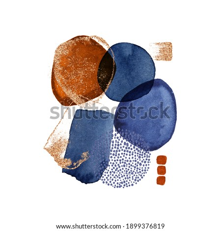 Modern illustration with watercolor circles, stains, gold lines, powder, brush strokes. Blue, brown transparent circles for wall pictures, logo, covers isolated on white background.