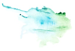 Modern image of watercolor blotch for banner design. Liquid background texture. Watercolour paint card template. Acrylic paint in creative style