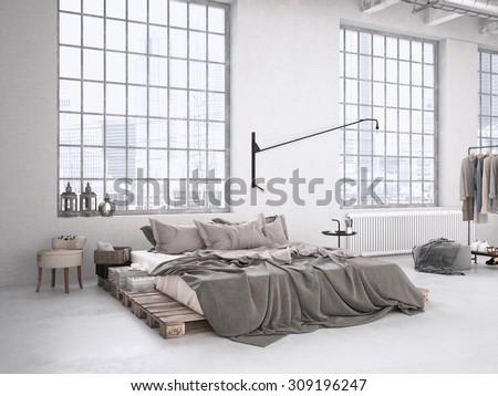 modern industrial bedroom in a...