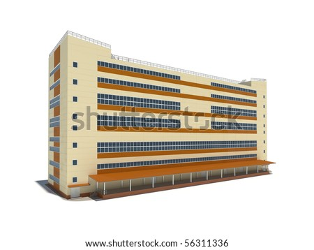 Modern industrial building. 3d render.
