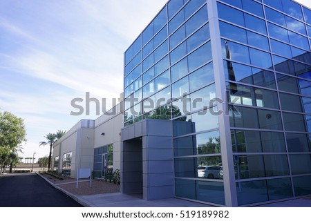 modern industrial building exterior and landscaping