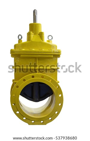 modern industrial locking devices to ensure reliable operation of various control systems and control of flows  liquid/Modern large industrial valve closeup isolated on white background