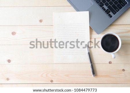 Modern Information medium and coffee on table #1084479773