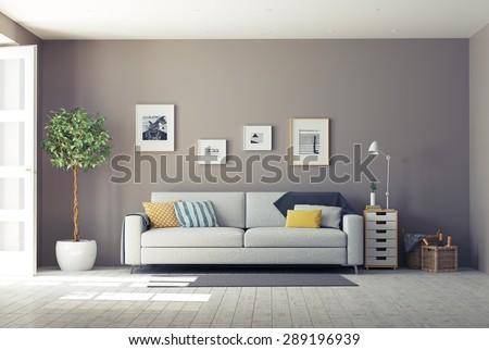 Shutterstock modern interior.3d design concept