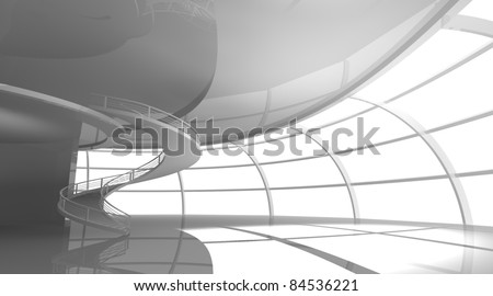 Modern interior. 3d illustration - stock photo