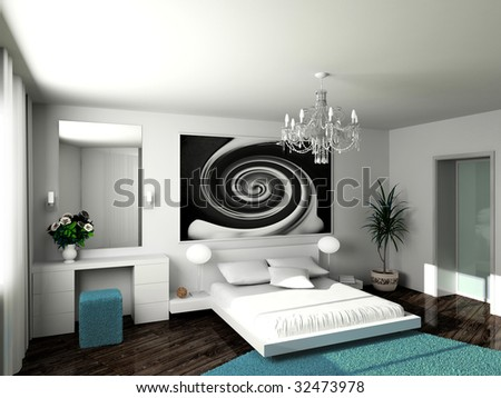 Modern Interior. 3d Render. Bedroom. Exclusive Design.