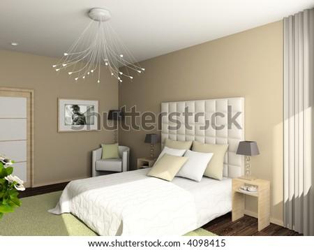 Modern interior. 3D render. Bedroom. Exclusive design. #4098415