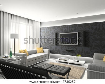 Living Room Modern Design on Modern Interior  3d Render  Living Room  Exclusive Design  Stock Photo