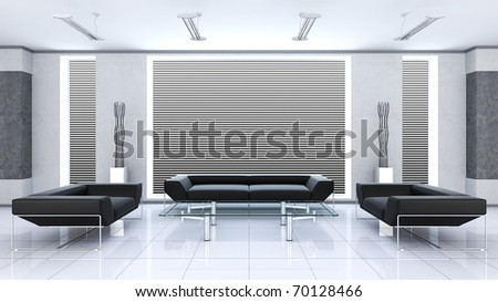 Modern interior (3d rendering) - stock photo