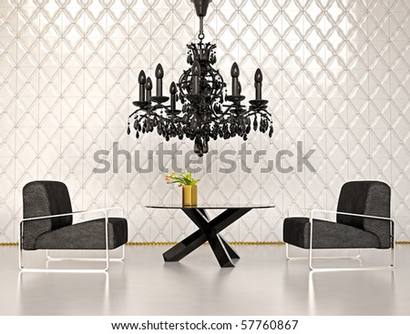 modern interior design 3D rendering - stock photo