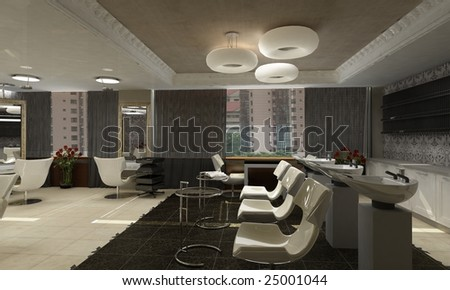 Modern Interior Design on Modern Interior Design  Hairdressing Salon  Stock Photo 25001044