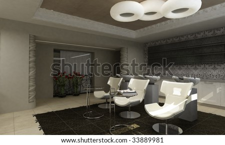 Modern Interior Design.Hairdressing Salon Stock Photo 33889981 ...