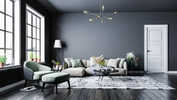 Modern interior design, in a spacious room, next to a table with flowers against a gray wall.Bright, spacious room with a comfortable sofa, plants and elegant accessories.