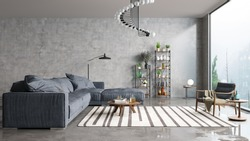 Modern interior design of a living room in an apartment, house, office, comfortable sofa, bright modern interior details and light from a window on a concrete wall background.
